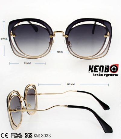 New Coming Trendy Design Frame Metal Sunglasses with Nice Temples Km18033