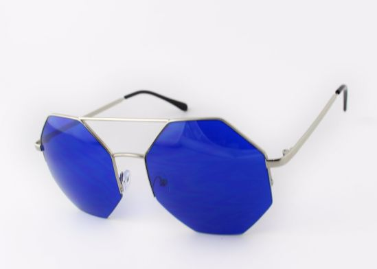 Irregular Shape Half Rim Frame Km16303 Latest Design Metal Sunglasses Muti-Colored Lens