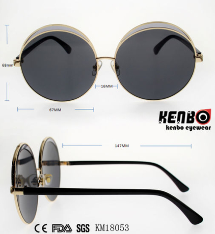 Special Design Metal Sunglasses with Round Frame Km18053