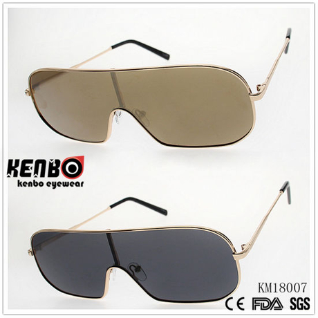 fashion Metal Sunglasses with One Piece Lens Km18007
