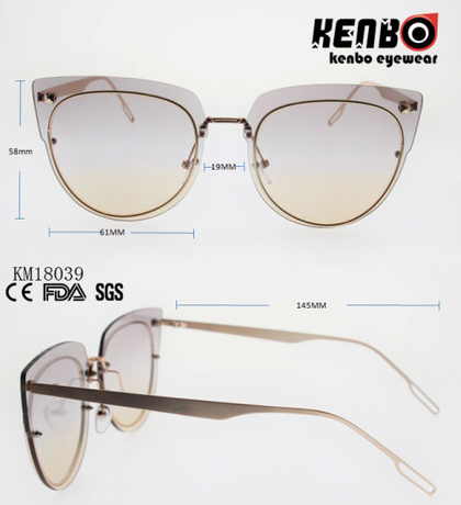 Fashion Design Metal Sunglasses with Ocean Lens Km18039