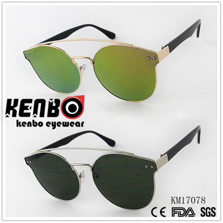 Metal Frame Menly Fashion Sunglasses with Plastic Temple Km17078