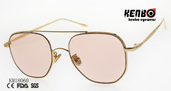 Fashion Metal Sunglasses with Double Bridges and Polygonal Lens Km18060