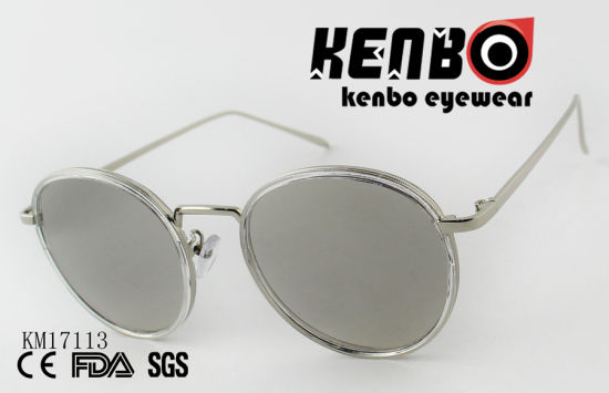 Plastic Combine Metal Round Frame with Colourful Lens Choices Km17113 Hottest Sale Sunglasses