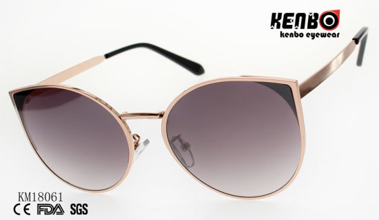 Fashion Metal Sunglasses with Drop Shape Frame and Nice Temples Km18061