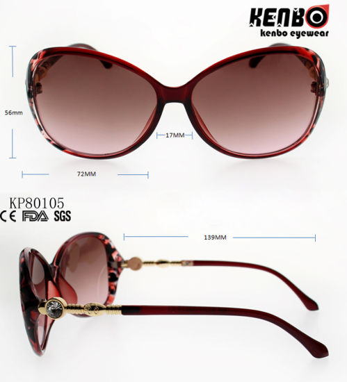Fashion Plastic Sunglasses with Metal Pattern Carved Temple Kp80105