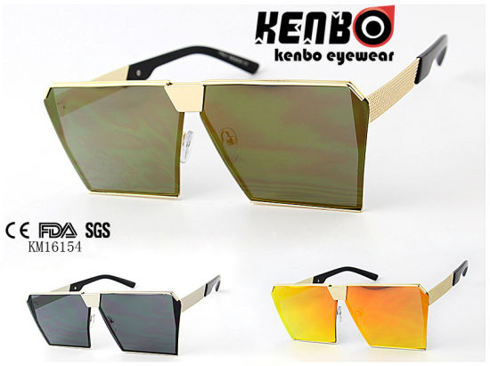 Fashion Men′s Sunglasses Km16154 Oversize Square Frame with Special Temple
