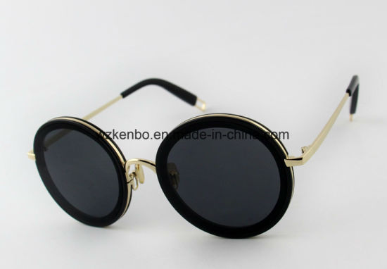 Fashion Round Frame Combine Metal and Plastic Sunglasses Km17074