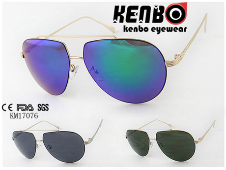 Classic Shaped Lens with Special Eyebrow Fully Metal Sunglasses Km17076