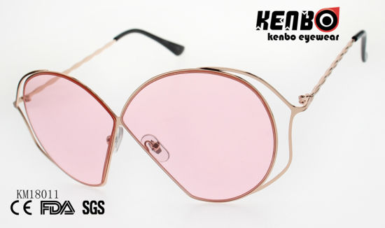Fashion Metal Sunglasses with Butterfly Shaped Frame Km18011