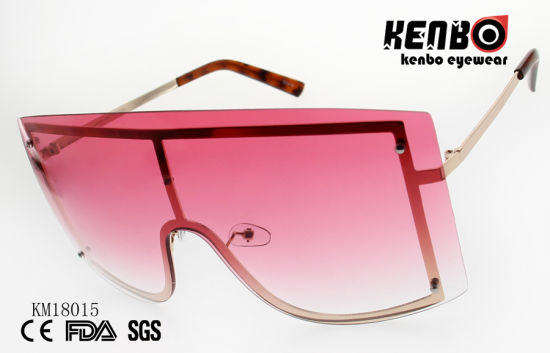 New Coming Fashion Metal Sunglasses with One Piece Lens Km18015