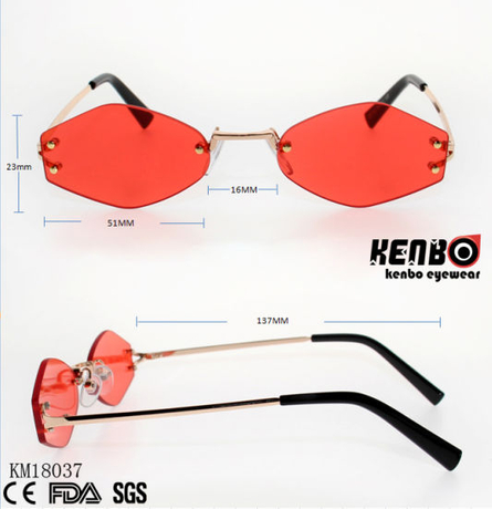 Special Design Frameless Metal Sunglasses with Polygonal Lens Km18037