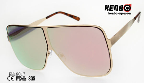 Fashion Metal Sunglasses with Large Polygonal Frame Km18017